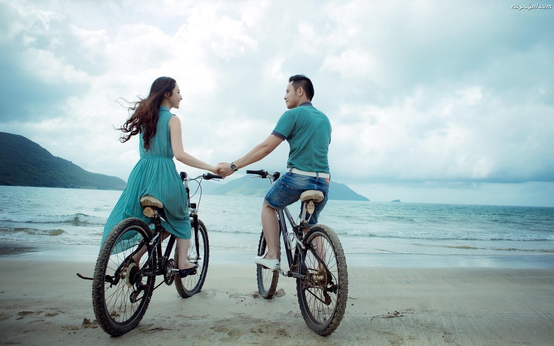 Rowery, Zakochani, Plaża